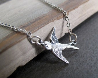 Tiny Silver Bird Necklace, Vintage Inspired Sparrow Necklace, Antique Silver Bird in Flight - TINY SPARROW