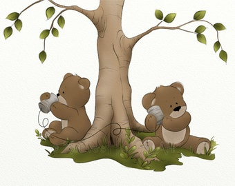 5 x 7 Cute Childrens Wall Art Print, Teddy Bear Baby Nursery Decor, Kids Room Artwork (123)
