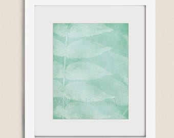 Sea Foam Green Wall Decor for Home or Office, Nature Wall Art 11 x 14 Leaf Print, Living Room Art (124)