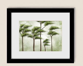 Wind Blowing Trees Art Print Living Room Decor, Nature Wall Art Summer Green Home Decor (140)