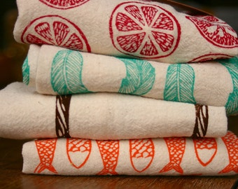 Flour Sack Towels, Hand Printed, Choose Your Set of 3