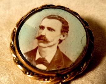 Antique 19th Century Hand Tinted Photo in Locket Pin Brooch.  Mustachioed Man.