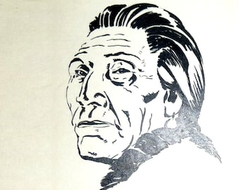 Ink Drawing. Lo, the Noble Injun. 1936. Signed Dated by  Artist. Bonus drawing included.