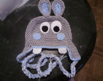 Baby or child Hippo hat - Girl or Boy  Elephant with color trim of choice 0-3 mths or any size to 18mth same