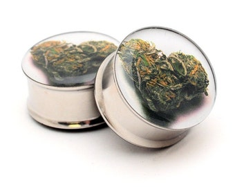 Love Bud Picture Plugs gauges - 16g, 14g, 12g, 10g, 8g, 6g, 4g, 2g, 0g, 00g, 7/16, 1/2, 9/16, 5/8, 3/4, 7/8, 1 inch