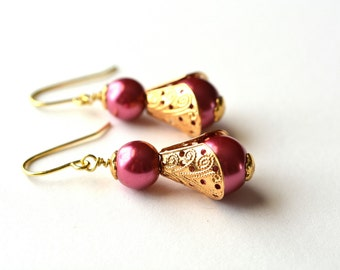 Pink and Gold Beaded Earrings Pearl Dangle Earrings