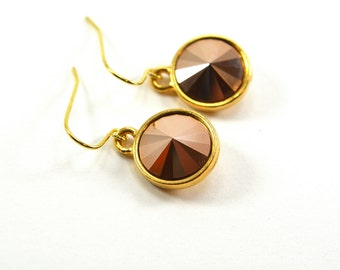 Rose Gold Dangle Earrings Swarovski Crystal Rose Gold Drop Earrings