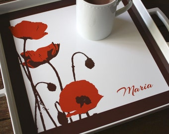 Poppies Tray, Personalized Serving Tray, Monogrammed Tray