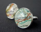 Cufflinks, Custom, Mens jewellery, Vintage, Personalized, Bronze,  Map cufflinks