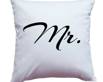 "Apericots Pillow Cover Pillow Case Pillowcase With ""Mr."" (Goes With ""Mrs."") Newlywed Engagement Wedding Design Home Decor Accent Pillow"