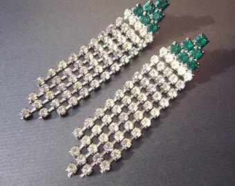 Vintage Rhinestone Chandelier Earrings Green Crystal Dangle Earrings Rhinestone Jewelry