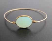 Seafoam Green Chalcedony Bracelet, Sea Foam Green Bracelet, Green Jewelry, Chalcedony Jewelry, 14k Gold Filled Bangle, Gemstone Bracelet