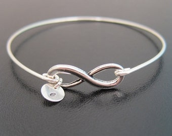 Personalized Infinity Bracelet with up to 10 Initial Charms, Birthday for Her, Monogram Jewelry