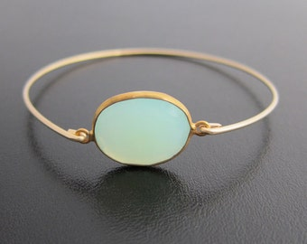 Seafoam Green Chalcedony Bracelet, Sea Foam Green Bracelet, Green Jewelry, Chalcedony Jewelry, 14k Gold Filled Bangle, Gemstone Bracelet