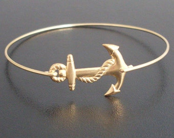 Anchor Bangle, Nautical Accessory, Summer Bracelet, Ocean Themed Jewelry, Gift for Her Under 25