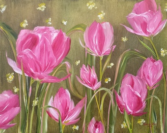 Pink Tulips - oil, painting, tulip, tulips, flower, bloom, landscape, nature, beauty, pink, flowers, pink, Holland, original, art, 16x20