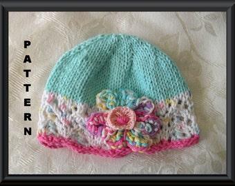 Knitted Hat Patterns Baby Hat Pattern Newborn Hat Pattern Infant Hat Pattern Baby Hat with Flower Easter Hat Pattern: FANTASY FLOWER CLOCHE