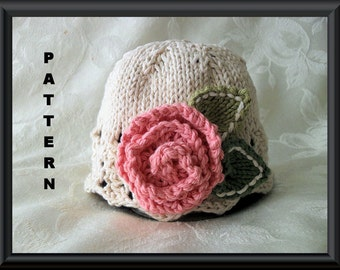 Knitted Hat Pattern Baby Hat Pattern Newborn Hat Pattern Infant Hat Pattern  ROSE by any OTHER COLOR
