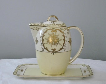 Antique Gold and White Pancake Pitcher with Underplate Morimora Bros. Very Ornate Porcelain Waffle Pitcher with Lid Noritake Nippon