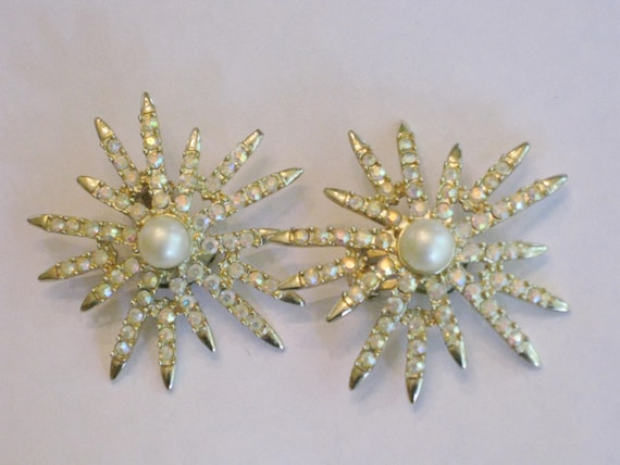 Vintage Emmons Crystal Earrings Large Starburst Aurora