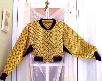 70s quilt~look glittery gold and black cropped jacket