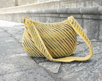 Yellow Leather Shoulder Bag Purse - Fordite Leather and Faux Chenille