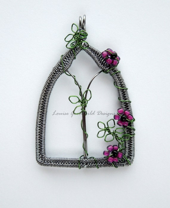 Gothic Window wire wrapped pendant with roses