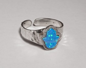 hand hamsa ring opal silver adujstable ring