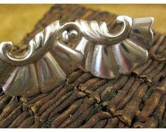 Art Nouveau Sterling Silver Decorative Scroll Earrings – Vintage Non Pierced Screwback Earrings