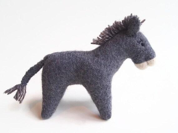 Stuffed toy donkey, waldorf donkey, child's toy, barnyard animal