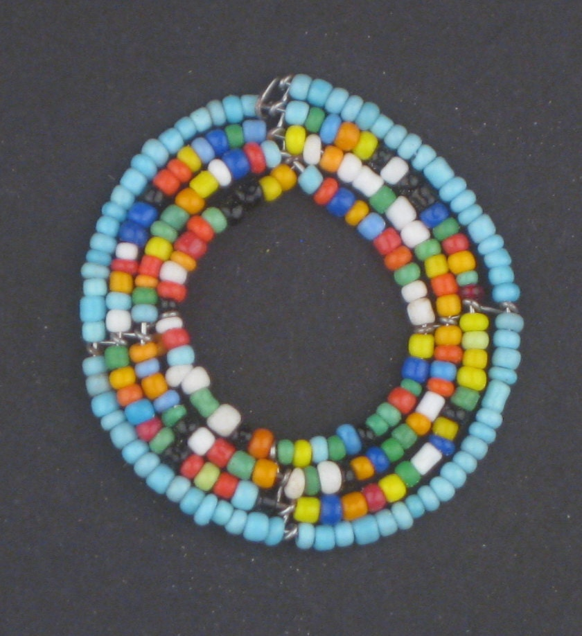 maasai beaded pendant authentic beadwork blue