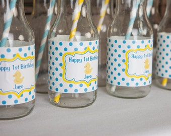 Rubber Duck Birthday Party Water Bottle Labels - Yellow Rubber Duck Birthday Party Decorations - Duck Labels - Aqua Blue and Yellow (12)