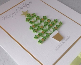Quilled Christmas custom card, paper quilling Christmas tree, handmade, personalized