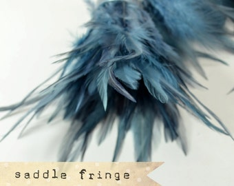 MARINE GREY - Rooster Saddle Fringe Feathers - coque saddle - soft, pointy tipped, feather trimming