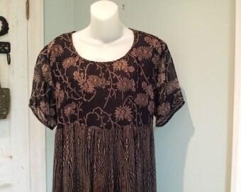 Summer flirt Dress, Vintage Empire Waist Dress, Sheer Dress with Lining
