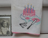 Happy Birthday To You!! Towel Cake Celebration Kitchen Embroidered