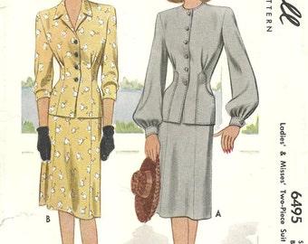 McCalls 6495 Suit Dress 2 pc. sz 18 printed cut complete Vintage 1946 Half off Sale reflected