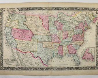 1860 United States Map 1860 Mitchell Map of United States, Original Antique US Map, Historical Map, History Buff Gift, Vintage US Decor