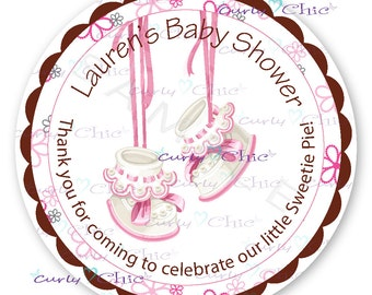 Baby Shower Stickers -Baby Girl Shower Labels -Baby Girl Shoes Labels -Personalized New Baby Stickers -Custom Baby Girl Labels