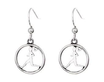 Running Earrings - Runner Girl Circle Charm Hook Earrings