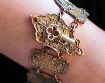 Bronze Door Bracelet with Keyhole Toggle