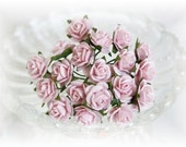 Miniature Roses~Light Pink~ Set of 20 for Scrapbooking, Cardmaking, Altered Art, Wedding, Mini Album