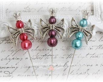 Butterfly Queen Stick Pins Scrapbooking, Cardmaking, Mini Albums, Wearables, Sewing,Dark Pink. Dark Purple. Teal