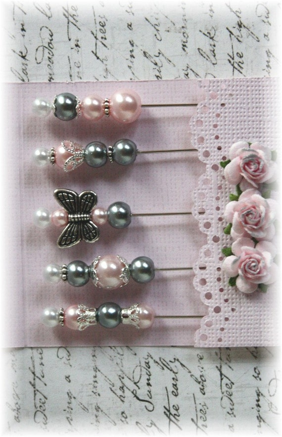 Mini Matchbook Stick Pins Pink and Gray for Scrapbooking or Cardmaking