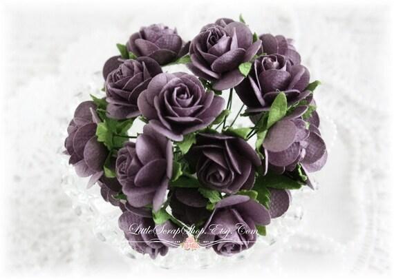 Mulberry Roses~Plum~ Set of 20 for Scrapbooking, Cardmaking, Altered Art, Wedding, Mini Album