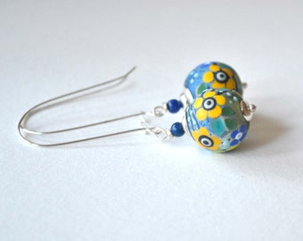 Flower Earrings, Lampwork Earrings, Blue Yellow Earrings, Glass Earrings, Long Dangle Earrings