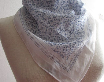 Vintage Sheer White and Blue Floral Scarf - Made in Japan