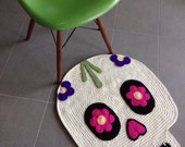 Day of the dead skull crochet rug