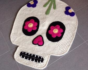 Day of the dead skull crochet rug