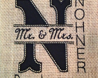 Personalized Burlap Embroidered sign with wedding date to fit your 5 X 7 frame
